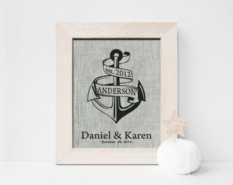 4th anniversary gifts for men , 4 Years Together print, Anchor Monogram, Fourth Unique Engagement gift for husband wife, date print