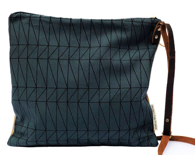 Adjustable Crossbody Bag - Sable Waxed Canvas with Architectural Line Pattern