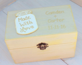 Personalized Recipe Box Recipe Card Storage 4x6 Painted and Distressed in the COLOR of YOUR CHOICE