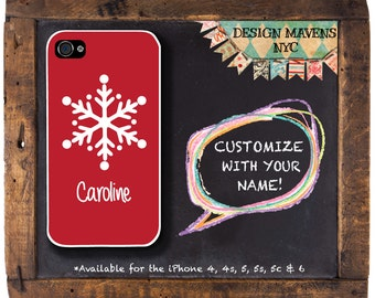 Snowflake iPhone Case, Personalized Holiday Phone Case, Red iPhone Case, iPhone 5, 5s, 5c, 4, 4s, iPhone 6, 6s, 6 Plus, SE, iPhone 7, 7 Plus