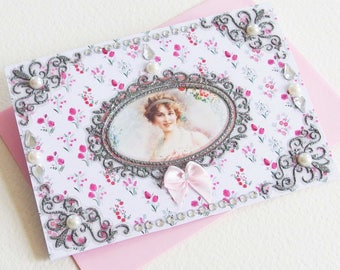 Card greeting fantasy, Retro Vintage card, card romantic, Shabby card, handmade card, artist in one piece