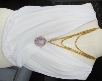 layered gold chain necklace with pink agate druzy pendant