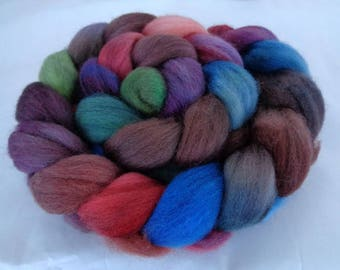 Merino wool roving, spinning fiber, felting wool, merino roving, hand dyed roving, brown, blue, teal, purple,green,burnt orange, 100g, 3.5oz