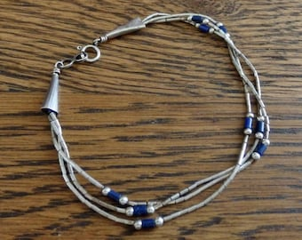 "Vintage 3-Strand Liquid Sterling and Lapis Bracelet, Liquid Silver 7 1/8"" long"