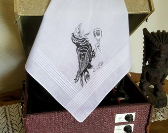 Crooner Crow Men's 100% Cotton Handkerchief / Hanky / Pocket Square - Hand Pulled Screen Print - Original Art