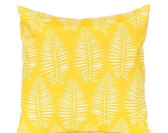 Outdoor Pillow Covers - Yellow Pillow Covers - Home Decor - Palm Leaf - Outdoor Cushions - Patio Decor - Pool Decoration - Spring Decor