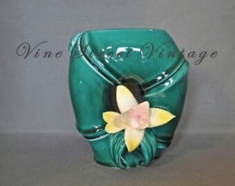 Vintage Porcelain Green Bamboo Vase with a Porcelain Flower