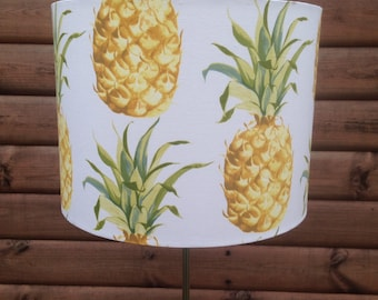 Big 35cm+ Pineapples on White, fabric covered lamp shade