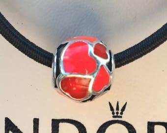 Pandora Red Hot Love Enamel Charm Authentic Pandora Charm Pandora Hearts Enamel and Sterling Silver Bead