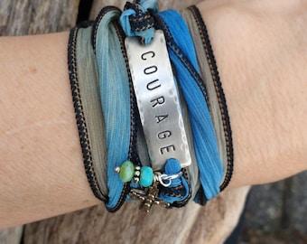 Courage Silk Bracelet, Personalized Silk Ribbon , Boho Chic Silk  Wrap, Handstamped Jewelry, Personalized Bracelet