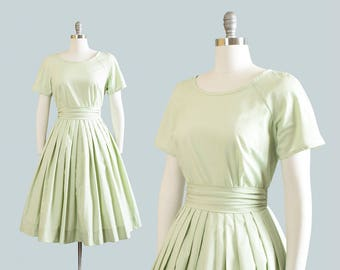 Vintage 1950s Dress | 50s Mint Green Cotton Full Skirt Day Dress with Matching Belt (medium)
