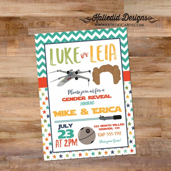 Star Wars baby shower invitation gender reveal luke or Leia couples coed diaper wipes lightsaber twins birthday boy | 1465 Katiedid Designs