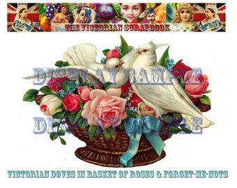 Large Victorian Scrap - Doves in a Basket with Roses and Forger-Me-Nots - A4 Digital Download