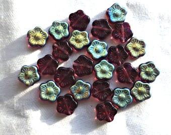 Lot of 25 10mm Dark Amethyst AB Czech glass flower beads, purple pressed glass flower beads, C6901