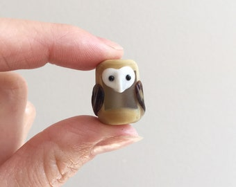 Glass Owl Bead in brown and white with barn owl one-of-a-kind OOAK object art sculpture knick knack figurine