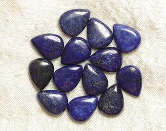 Wire 39cm env - stone beads - Lapis Lazuli drops 16x12mm 24pc
