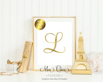 Initial Gold Foil Print / 5x7 OR 8x10 Real Gold Foil Print / Typography Foil Print / Teal Foil Print Letter L / Real Foil Prints /Home Decor
