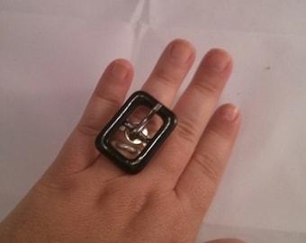 Altered Metal Belt Buckle into silver metal color Adjustable Ring