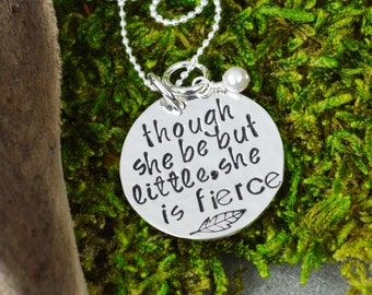 Though She Be But Little She Is Fierce Necklace in Sterling Silver with Feather and Pearl