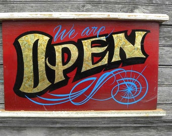 Open Sign, hand painted, wooden sign