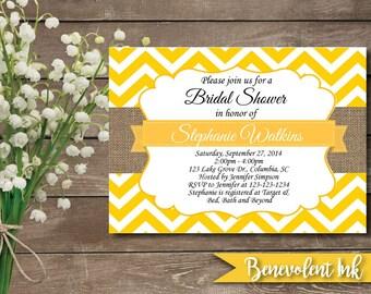 Bridal Shower Invitation - Wedding Shower Invitaiton - Printable Bridal Shower Invite - Chevron Bridal Shower - Yellow Bridal Shower