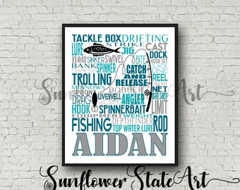 Personalized Fishing Poster, Gift for Fisherman, Fishing Gift Ideas, Typography, Fishing Art, Fishing Print, Gift for him, Fisherman Gift
