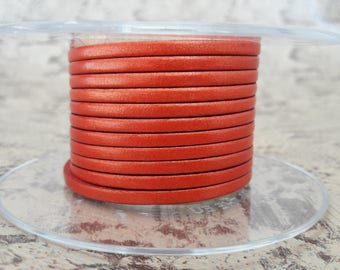 Red metal 3 mm flat leather European quality