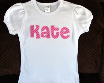 Girl's Personalized Valentine's Day Shirt  pink hearts love pink letter applique toddler tee