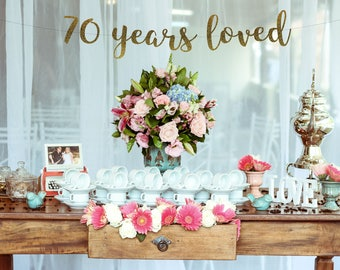 70 Years Loved 70th Birthday decoration Birthday Banner 70th Anniversary Banner Party Banner Photo PropGlitter BannerGold party decor & 70 Years Blessed 70th Birthday Decoration Birthday Banner