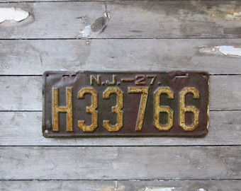 Antique License Plate New Jersey NJ Vintage 1927 Green u0026 White 1920s Era Distressed Aged Patina Car Auto Hot Rod Rat Rod Man Cave Sign VTG : antique plates nj - pezcame.com