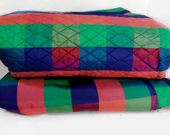 Plaid fabric in acetate holiday colors - 2 pieces, 1 quilted vintage from 1980s 3+ yds each / blue green red / Olympia / Christmas fabric