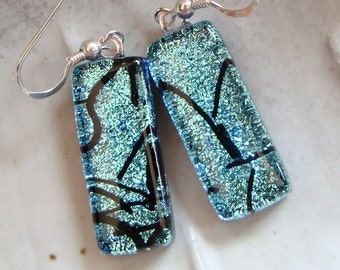 Dichroic Glass Earrings, Glass Jewelry, Dangle, Sterling Silver, Turquoise, Black