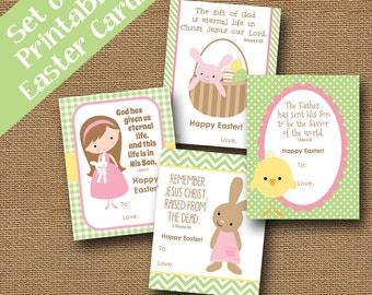 Set of 4 Printable Children's Easter Cards | DIY PRINTABLE | Religious, Scripture, Bible Verse Easter Cards for Girls | SET of 4 Designs