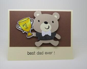 Best Ever Dad teddy bear greeting card