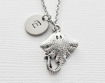 Stingray Initial Necklace Fish Ocean Sea Life Mantaray Manta Ray Friend Birthday Silver Jewelry Personalized Monogram Hand Stamped Letter