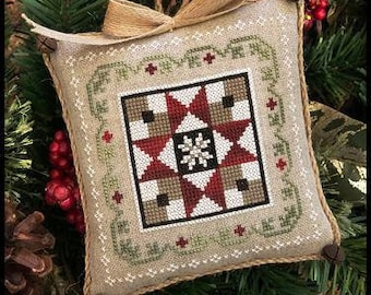 NEW! LITTLE HOUSE NEEDLEWoRKS Farmhouse Christmas Grandma's Quilt #5 SaL counted cross stitch patterns Needle Nanny