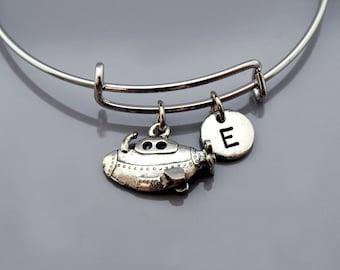 Submarine bangle, Submarine bracelet, Submarine jewelry, Silver submarine bracelet, watercraft, Expandable bangle, Initial bracelet