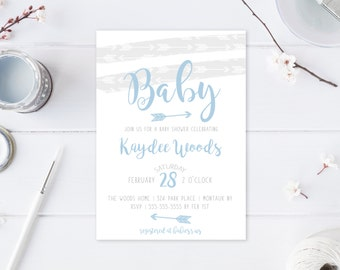 Baby Shower Invitation, Boho, Boy Baby Shower Invitation, Baby Shower, Bohemian, Arrows, Blue, Baby Boy, Baby Shower Invites, Custom [583]