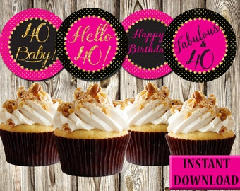 40th Birthday Cupcake Toppers, Dark Pink, Black and Gold, Labels, Party Favors, Printable, Instant Download, PDF