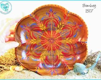 "Mandala Design, Henna-Inspired Boho Art, Decorative Wood Trinket Tray, OOAK Decor,  TB1507 ""Bombay"""