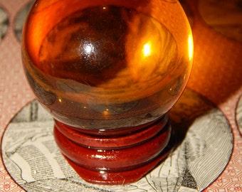 Genuine AMBER SMELT QUARTZ Sphere - Amber Quartz Orb - 40mm Gemstone Sphere - Metaphysical Crystals - Reiki - Meditation Stone - Scrying