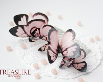 Hair comb with 8 pink butterflies