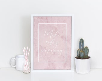 Make Today Amazing Motivational Quote - Pink Marble Background - Typography Print - Wall Art - Home Decor