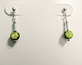 Black, Green and Silver Dangle Earrings