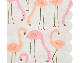 Flamingo Luncheon Napkins gold and Neon foil Details pk 16
