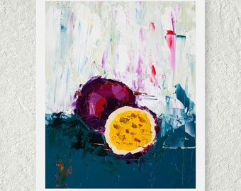 Passion Fruit Print, Purple Art, Art for the Kitchen, Affordable Art, Oil Painting Print, Food Painting, Small Art Print, Contemporary Print