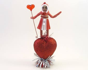 "READY TO SHIP Vintage Inspired Spun Cotton Valentine's Day ""Miss Annaheart"" Ooak"