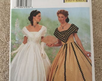 Butterick #6693: Ladies Civil War Era Gown (2 styles), SZ 12-16