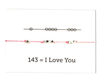 Knotted Cord Bracelet,  I Love You Message friendship bracelet  Pink Cord bracelet, Bridal party gift, graduation gift