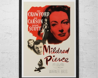 MILDRED PIERCE Movie Poster -  CLASSIC Movie Poster -  High Quality Reproduction - Film Noir Movie Poster Classic Film Poster Joan Crawford